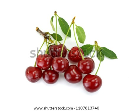 sweet cherries isolated on the white background #1107813740