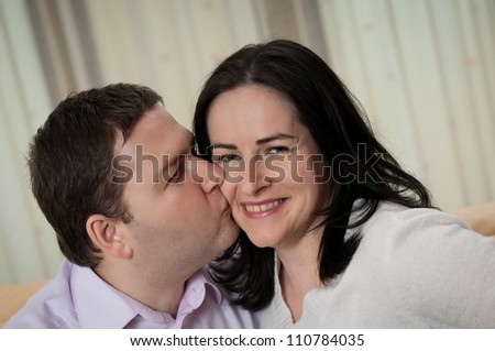 Love - couple indoors, man kissing her wife #110784035