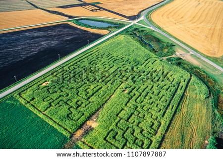 Aerial of corn maze, Manitoba, Canada #1107897887
