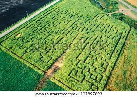 Aerial of corn maze, Manitoba, Canada #1107897893