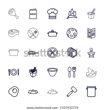 Cook icon. collection of 25 cook outline icons such as chili, pan, spoon and fork, barbeque, noodles fast food, bread slices. editable cook icons for web and mobile. #1107932759