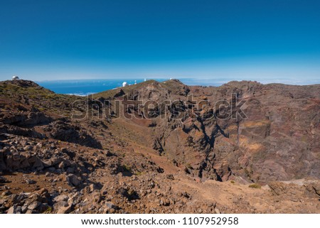 Astronomical observatory in Roque de los muchachos, highest peak of la Palma island, Canary island, Spain.  #1107952958