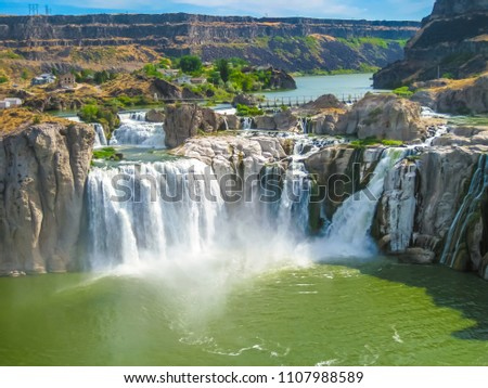 Spectacular aerial view of Shoshone Falls or Niagara of the West, Snake River, Idaho, United States. #1107988589