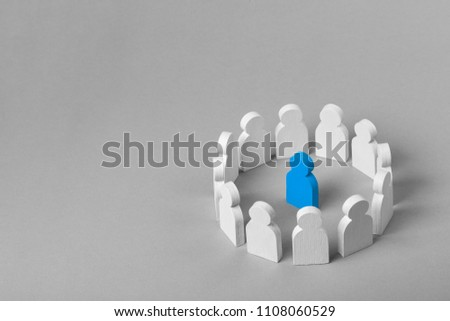 Concept leader of  business team. Crowd of white men stands in  circle and listens to the leader of the blue color #1108060529