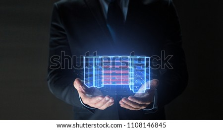 architecture, technology and construction concept - close up of businessman with virtual building blueprint projection #1108146845
