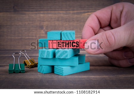 Ethics Business Concept With Colorful Wooden Blocks #1108182914