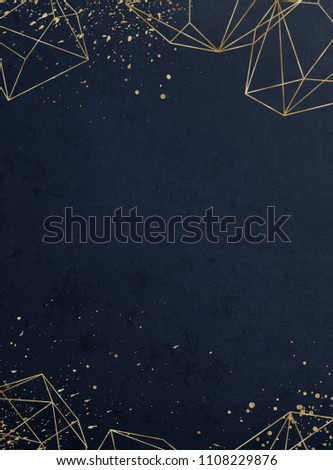 Vivid textured geometric frame. Abstract gold polygonal geometric frame with golden glitter triangles, geometric, diamond shapes on navy background. Golden confetti splashes in the corner.