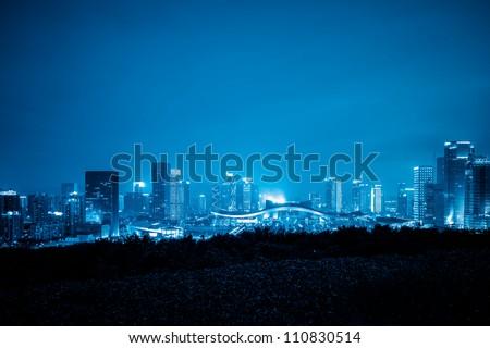 skyline of shenzhen china at night. #110830514