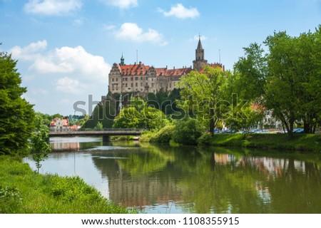 Sigmaringen Castle is seen across the Danube River. #1108355915