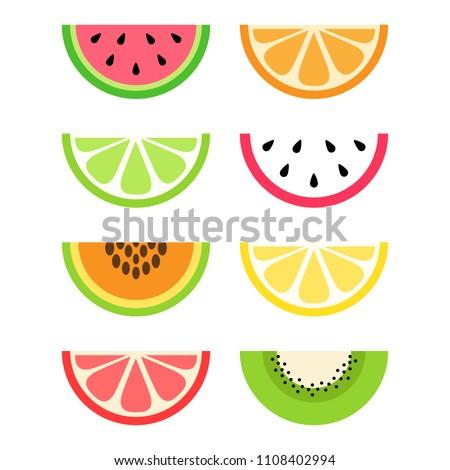 Set of citrus and exotic, tropical fruit slices; watermelon, orange, lime, dragon fruit, papaya, lemon, grapefruit and kiwi. Vector graphic summer fruit icons. #1108402994