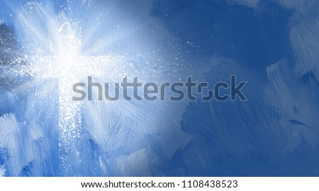 Graphic digital illustration of the Christian Cross of Jesus Christ and rays of light.  Conceptual composition of spattered brushed strokes of the Biblical symbol of atonement and sacrifice.