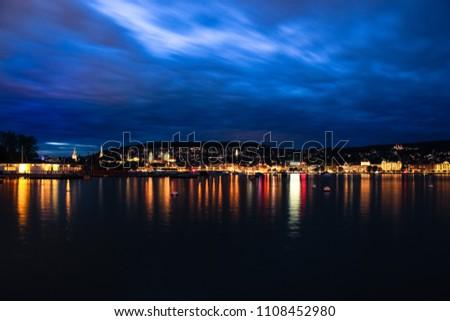 Zurich city skyline by night #1108452980
