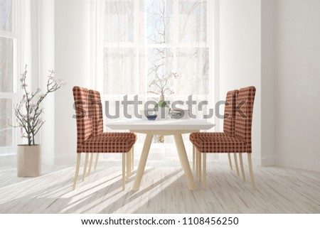 White modern dinner room. Scandinavian interior design. 3D illustration #1108456250