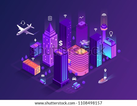 Smart city isometric illustration. Intelligent buildings. Streets of the city connected to computer network. Internet of things concept. Business center with skyscrapers. Eps 10
