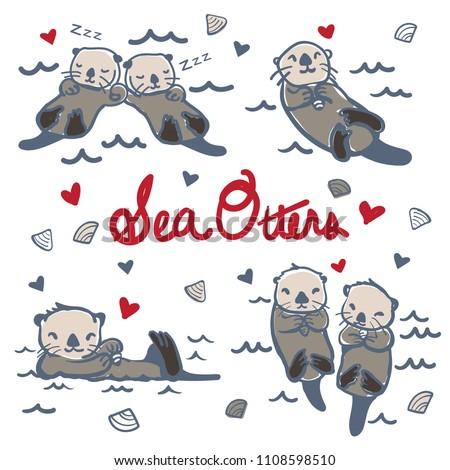 Vector Hand Drawn Sea Otters