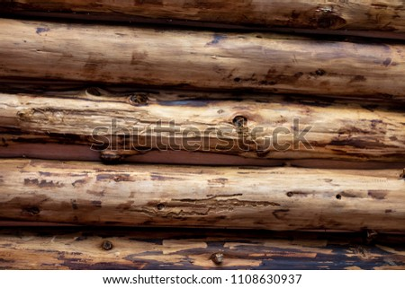 Wooden logs are arranged side by side to create a ceiling surface texture and brown. The picture is horizontal.