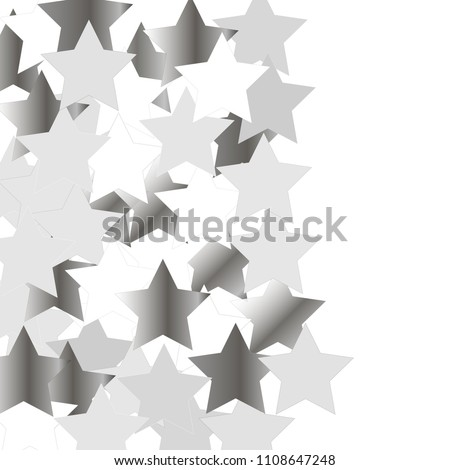 Vertical band from scattered silver metal stars. Abstract confetti vector background of flying rotating celestial elements. Vector illustration. Decorations, paper packaging, textile design.  #1108647248