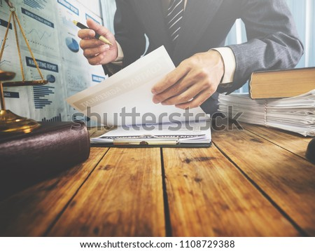 Lawyer learning about law states public property for the people Real Estate Information Center, vintage filtered. Royalty-Free Stock Photo #1108729388