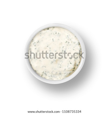 cup of ranch dressing isolated on a white background Royalty-Free Stock Photo #1108735334