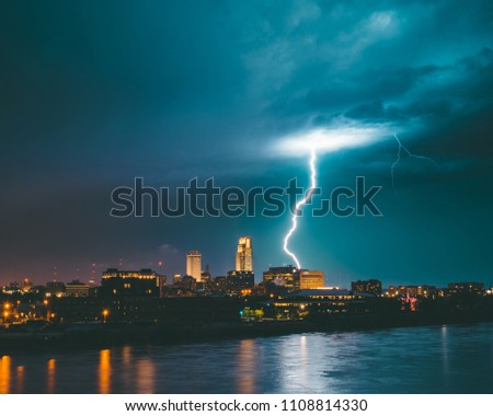 Lightning strike over downtown Omaha, Nebraska Skyline