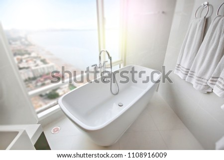 Pattaya/Thailand - May 7 2018 : White bathroom in modern condominium #1108916009