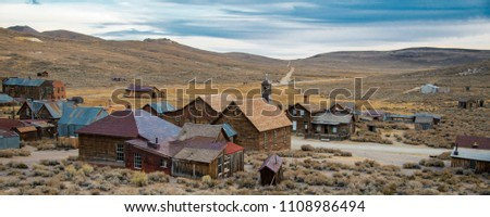 Bodie Historical State Park in California whit back of church in foreground Royalty-Free Stock Photo #1108986494