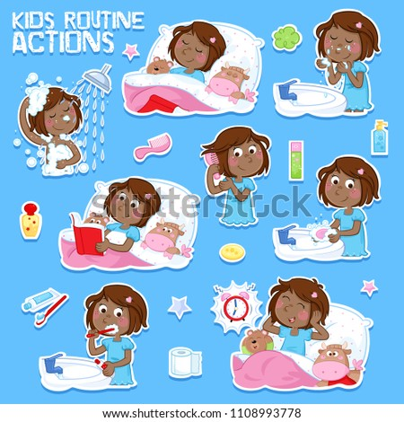 Good morning and good night - Daily routine of a little black girl with dark brown hair - Set of eight routine actions - Isolated on the blue background
