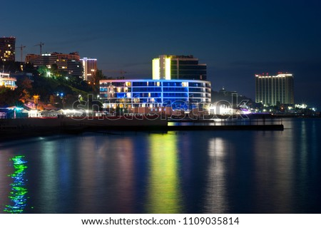 abstract night background with silhouette of city #1109035814
