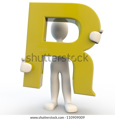 3D Human charcater holding yellow letter R