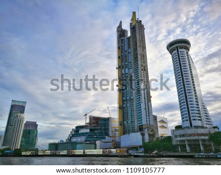 June 7, 2018 Bangkok Thailand, Bangkok Riverside, Icon Siam under construction with Thai and English Alphabet, Bangkok Financial district #1109105777