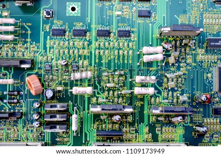 green Electronic system computer motherboard, digital chip with transistor, microcircuit. #1109173949