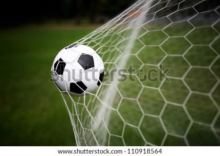 soccer ball in goal #110918564