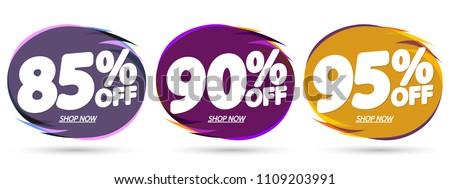 Set Sale tags, bubble banners design template, app icons, vector illustration #1109203991