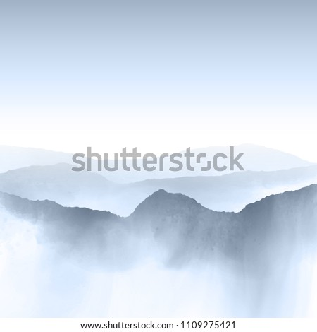 Watercolour style background of a mountain landscape #1109275421