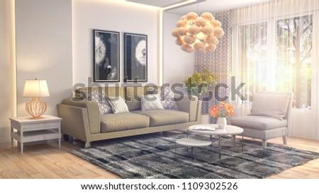 Interior living room. 3d illustration #1109302526