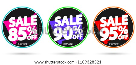 Set Sale tags, discount banners design template, app icons, vector illustration #1109328521