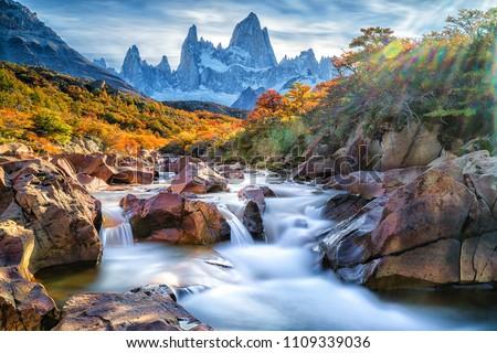 Wonderful view of Fitz Roy mountain,  Patagonia, El Chalten - Argentina #1109339036