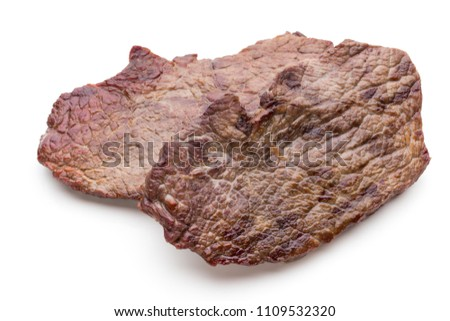 Grilled bio beef steaks with spices isolated on white background. #1109532320