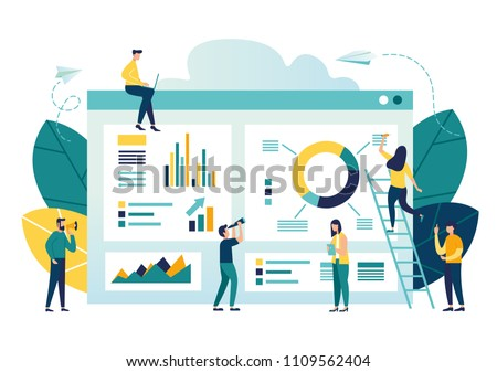 vector illustration of business, office workers are studying the infographic, the analysis of the evolutionary scale Royalty-Free Stock Photo #1109562404