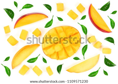 half of Mango fruit decorated with leaves isolated on white background close-up. Top view. Flat lay #1109571230