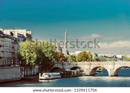 Paris, France - October 10 2017:  view of the city of Paris in France during the warm autumn in the Opera district near the Concorde. #1109611706
