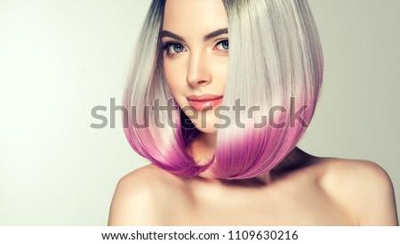 Beautiful hair coloring woman. Fashion Trendy haircut.Ombre bob short hairstyle. Blond model with short shiny hairstyle. Concept Coloring Hair. Beauty Salon #1109630216