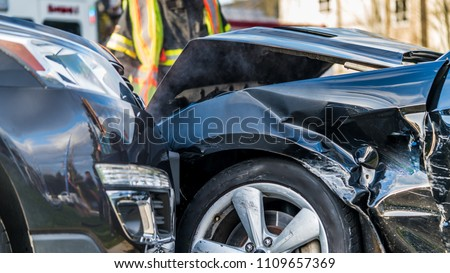 Vancouver, British Columbia, Canada. Aftermath of a car crash accident at a very busy intersection.  #1109657369