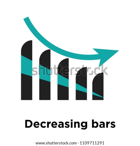 Decreasing bars chart icon vector isolated on white background for your web and mobile app design, Decreasing bars chart logo concept #1109711291