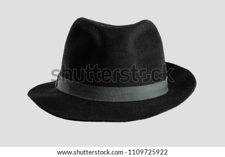 black hat against gray background #1109725922