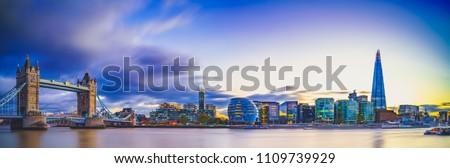 Panorama of Tower Bridge at sunset in London, UK Royalty-Free Stock Photo #1109739929