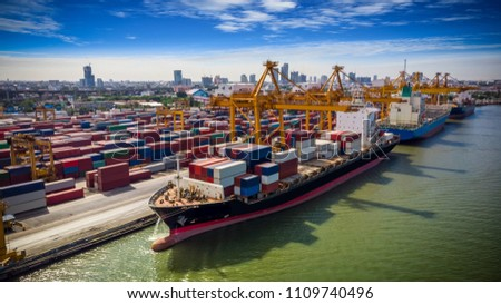 Logistics and transportation of Container Cargo ship and Cargo plane with working crane bridge in shipyard at sunrise, logistic import export and transport industry background #1109740496