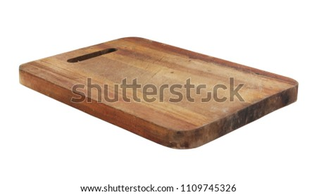 Rustic cutting board isolated on white #1109745326