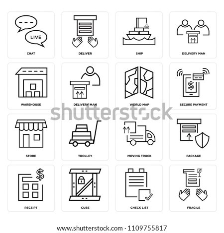 Set Of 16 icons such as Fragile, Check list, Cube, Receipt, Package, Chat, Warehouse, Store, World map, web UI editable icon pack, pixel perfect #1109755817