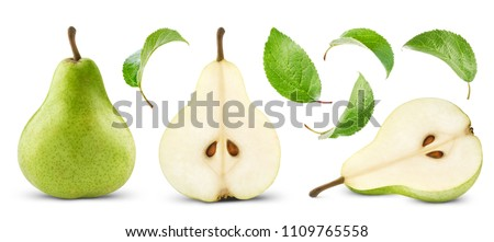 pears collection with leaf isolated Royalty-Free Stock Photo #1109765558